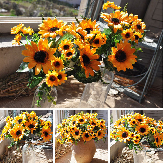 1 Bouquet Yellow Silk Sunflower Birthday Party Decorations Home Table  Decoration Artificial Flower Wedding Decoration