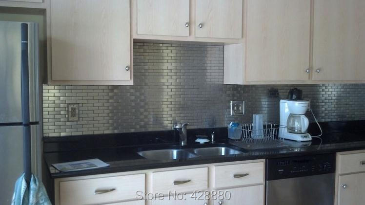 Lovely Metallic Kitchen Wall Tiles Part   8: ... Stainless Steel Backsplash  Porcelain