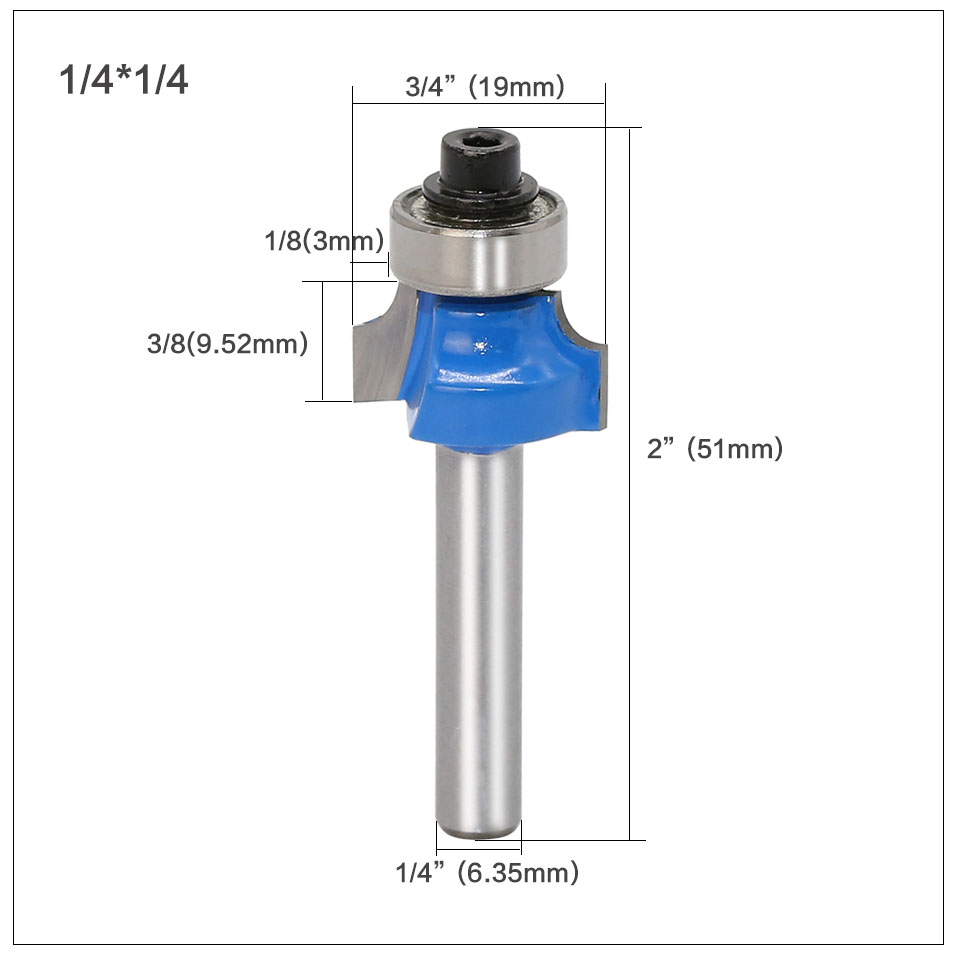 """Image 5 - 3pcs/set 6.35mm 1/4"""" Shank Two Flute Carbide Corner Round Over Router Bit With Ball Bearing Tungsten Milling Cutters For Wood-in Milling Cutter from Tools"""