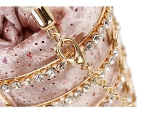 Image 5 - Sac à main de luxe pour femmes, seau en métal avec diamants, poignée de perles, sac de fête avec chaîne bandoulière
