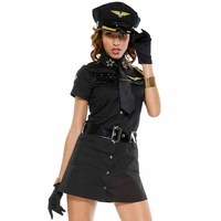 Police Officer Fancy Dress Cosplay Women Airline Waitress Costumes Sexy Cop Military Uniforms Halloween Party Stewardess Outfit