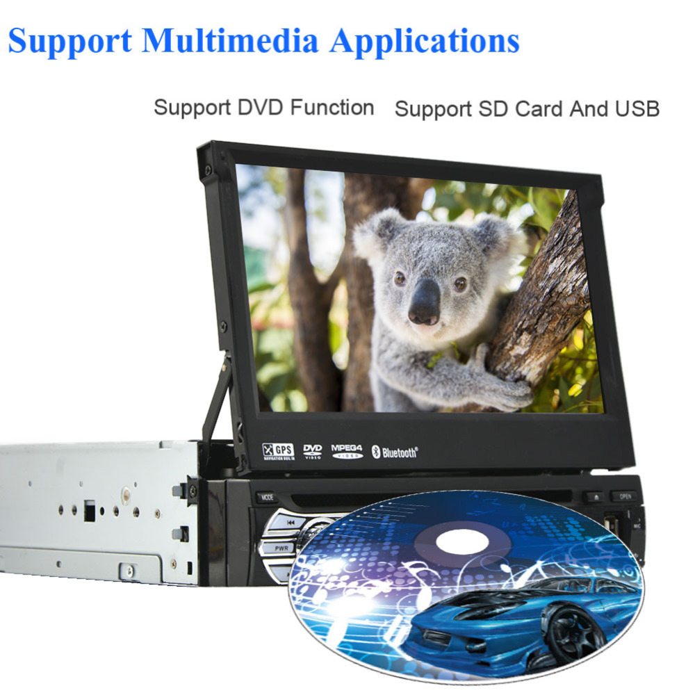 Single din 1 din 7 inch car Stereo video Player steering wheel control GPS radio Car dvd player support Bluetooth+free camera