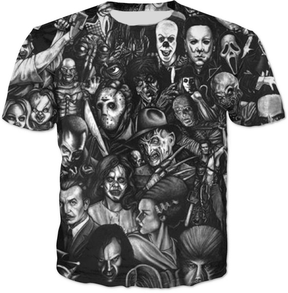 7207fceec Horror Movie 3D full Printed T-Shirt Casual Short Sleeve O-Neck Tee Horror  terrible Graphic Tops popular Clothing style tshirts