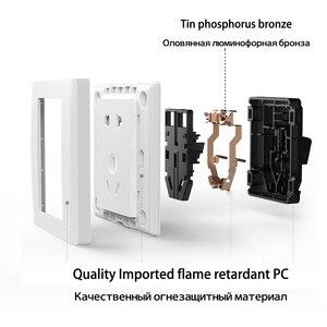 Image 4 - Enchufe de pared eléctrico para Xiaomi, placa frontal eléctrica AC250V 10A, 5 pines, toma de carga de 86x86mm, color blanco puro