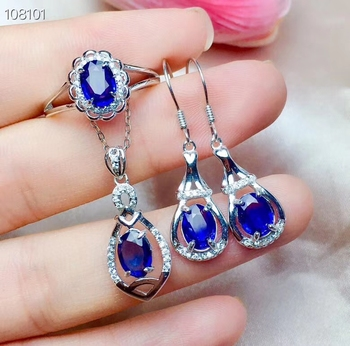 New style Blue sapphire/Red ruby gemstone jewelry set including ring earrings necklace  with 925 silver