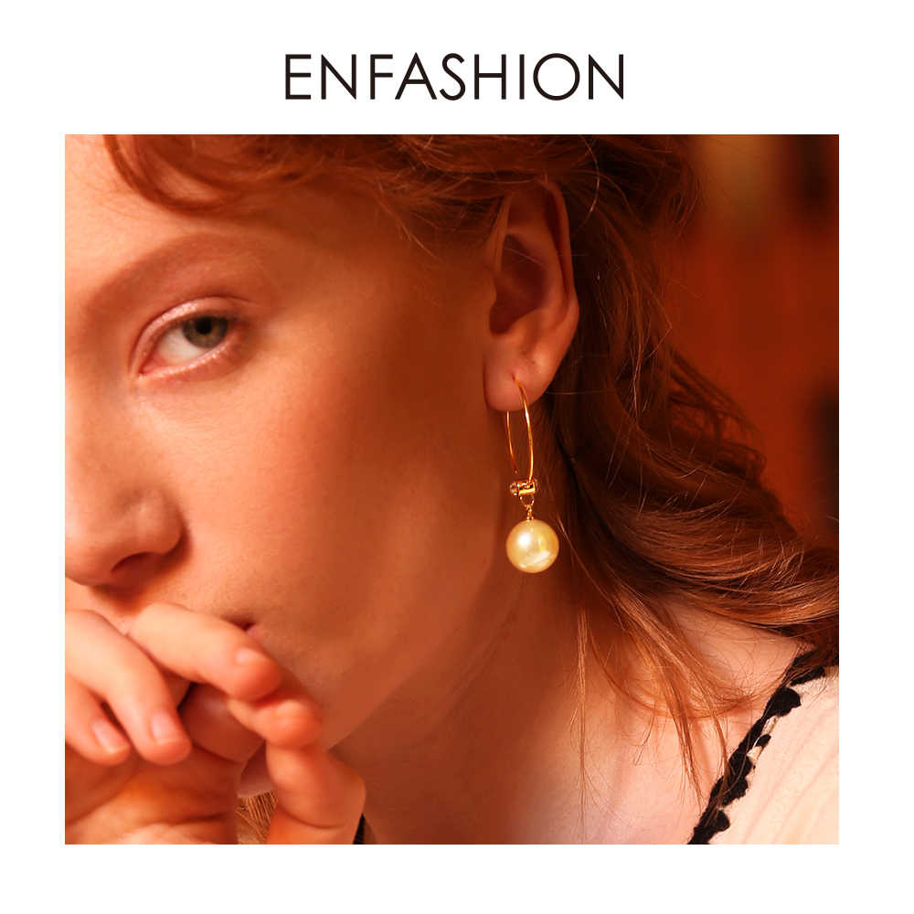 Enfashion Big Pearl Hoop Earrings  For Women Gold Color Circle Hoops Earings Round Jewelry Aros Orecchini Cerchio EF181081