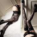 Women Lady Trendy Sexy Sheer Lace Thigh High Leggings Black Leggings L34