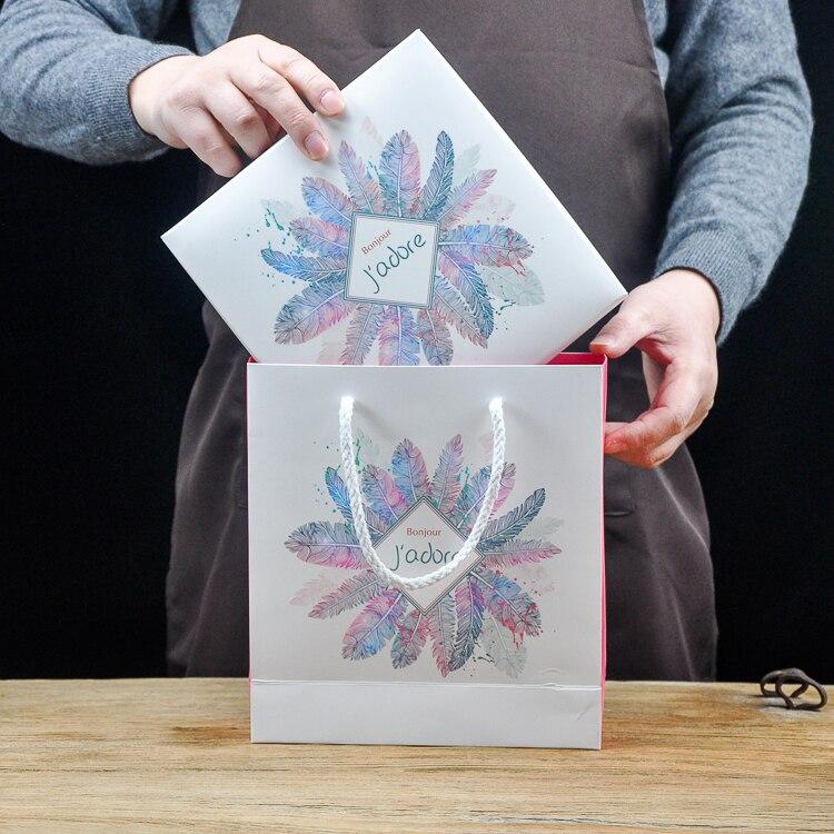 Acheter Glitter poudre 5 pcs plume bonjour J'adore conception Boîte de Papier pour le cadeau parti Emballage De Stockage Boîtes De Mariage De Noël Utiliser de Boîtes De Rangement fiable fournisseurs