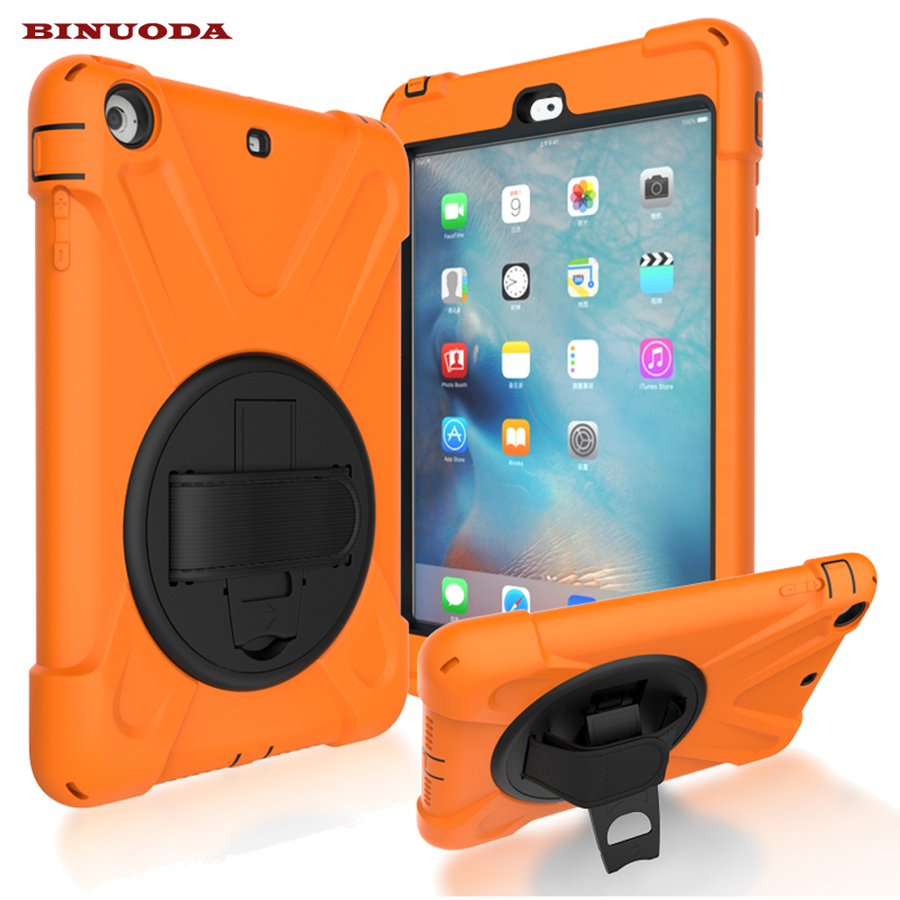 Safe Kid Case for iPad Mini 3 2 360 Degree Rotating Full Body Rugged PC Silicone Stand Cover Case for iPad Mini 3 2 1 Hand Strap 360 degree rotating flip case cover swivel stand for ipad mini 3 2 1 white
