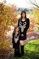 2017 Mommy And Me Family Matching Dresses Mother Daughter Deer Head Black Mom Daughter Dress Kids