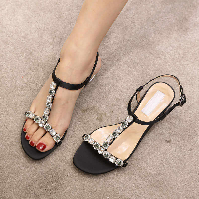 b326615ded7 T-strap Crystal Embellished Gladiator Women Sandals Satin Nude Black Clear  Rhinestone Low Heeled Dress