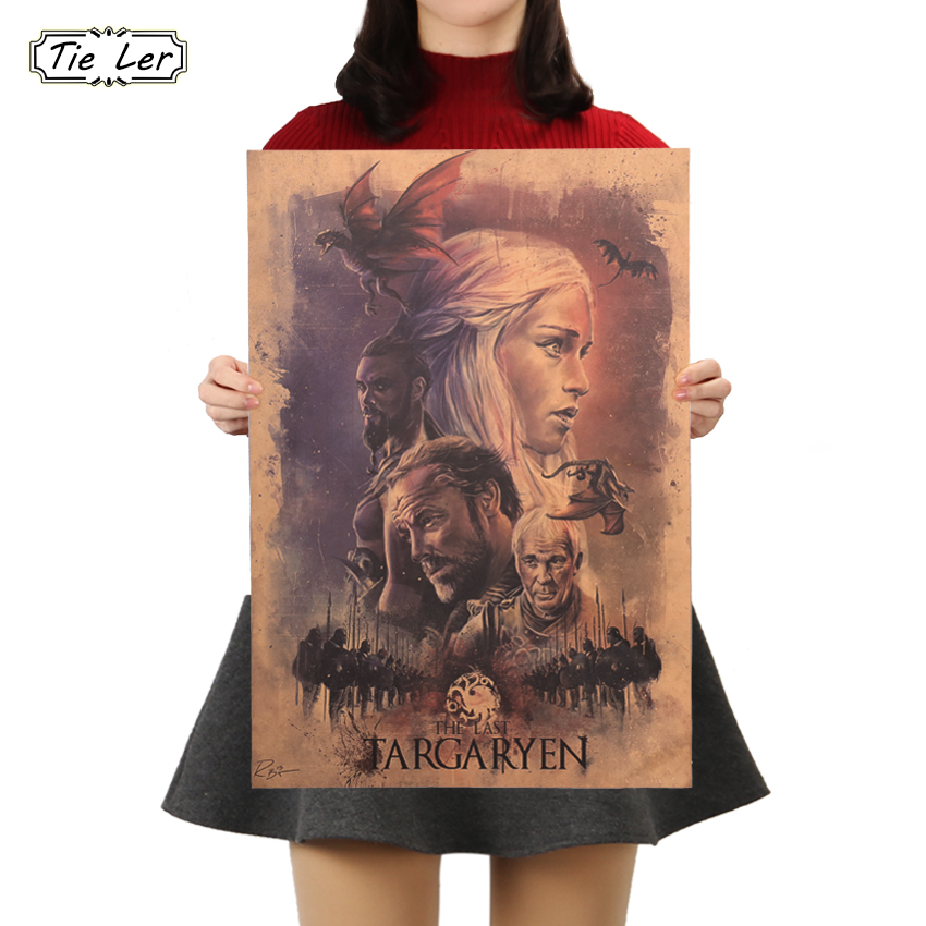 TIE LER Game Of Thrones Poster Vintage Kraft Paper Poster Room Decorative Painting Wall Sticker 50.5X35cm