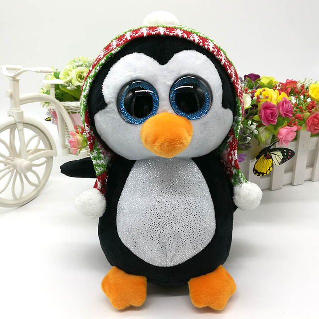 3746d901858 25cm 10   Ty Original Beanie Boos Plush Toy PENELOPE Penguin With Hat  Stuffed Animal Doll Toy Soft Cute Birthday Gift
