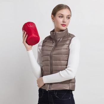 Women Vests 2020 New Winter Ultra Light White Duck Down Vest Female Slim Sleeveless Jacket Women's Windproof Warm Waistcoat 1