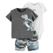 2019 Summer Baby Boy Clothes Sets Cotton Children Casual Cartoon T-Shirt Bodysuit Short Pant 3pc Cute Kids Clothing