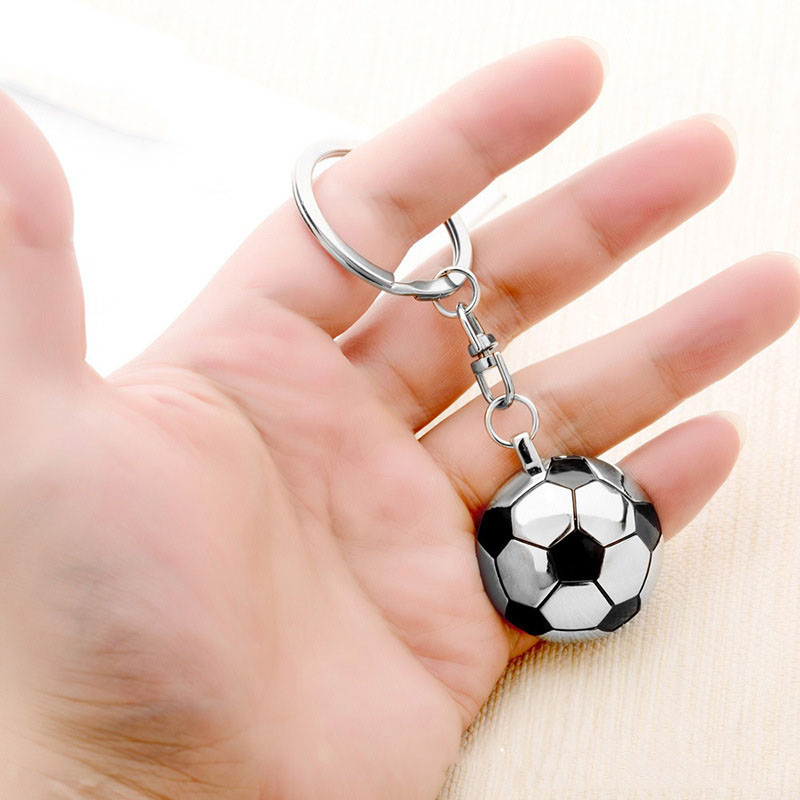Soccer Fans Gift Football Pendant Key Ring Metal Keychain Semi-Circular Football Back Mirror Anniversary Kids Birthday Gifts