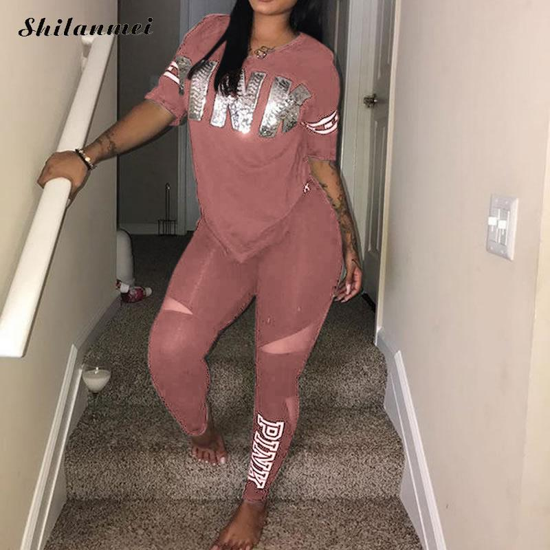 PINK Letter Print Sexy Women Sweatsuit Plus Size Tops + Pants Sweat Suits Summer Two Piece Tracksuit Casual 2 Piece Set S-XXXL
