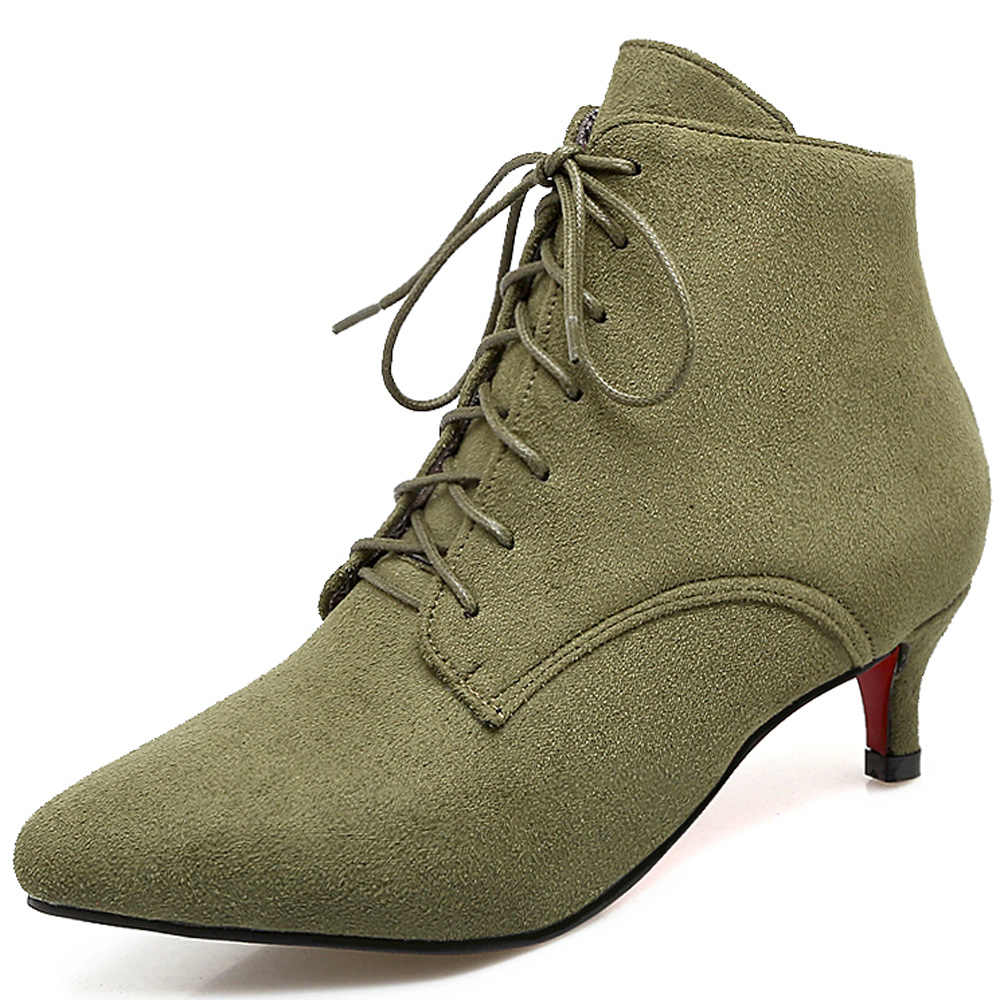 9eb95f3fc1f1 ... Elissara Women Med Heels Ankle Boots For Women Pointed Toe Lace Up  Boots Shoes Women s Winter ...