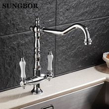 Chromed Polished Kitchen Faucets 360 Swivel Brass Kitchen Sink Basin Swivel Mixer Tap Faucet CF-9088L