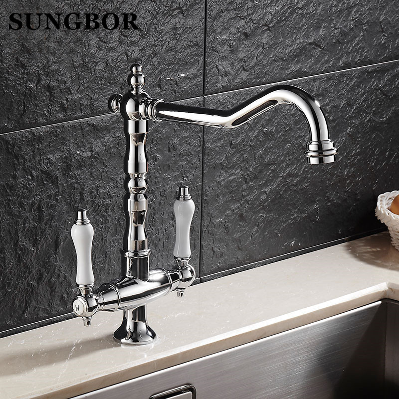Chromed Polished Kitchen Faucets 360 Swivel Brass Kitchen Sink Basin Swivel Mixer Tap Faucet CF 9088L