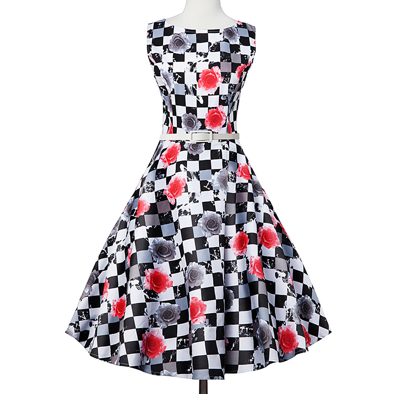 Kostlish Elegant Print Women Summer Dress Sleeveless Cotton Hepburn 50s 60s Vintage Dress With Belt Casual A-Line Ladies Dresses (34)