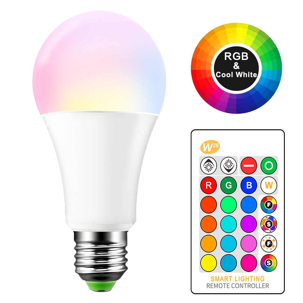 10W 15W RGB W LED Bulb E27 16 Colors Changing Atmosphere Lighting LED Lamp Flash Strobe Fade Mode Bar KTV Home Decorative Lights