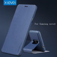 Free Shipping Cell Phone Case For Samsung Galaxy Note 4 Cover By Leather Flip Bracket Case