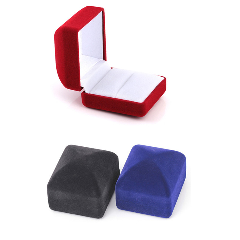Red/Blue/Black Square Velvet Wedding Ring Earring Necklace Jewelry Storage Box Vintage Display Case Holder Organizer Shellhard