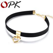 Opk готическое ожерелье чокер для женщин кулон в виде сердца