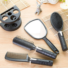 Hair Brush Massage Women Ladies Comb Mirror Set with Holder High Quality Black 5pcs/set