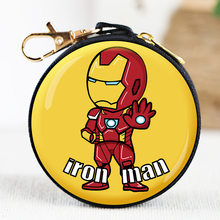 QiYuFang Iron Man Portemonnee Captain America Batman Spider Man Super Hero Glas Sleutelhanger Gift Sleutelhanger Holder Key Hoofdtelefoon Portemonnee Doos(China)