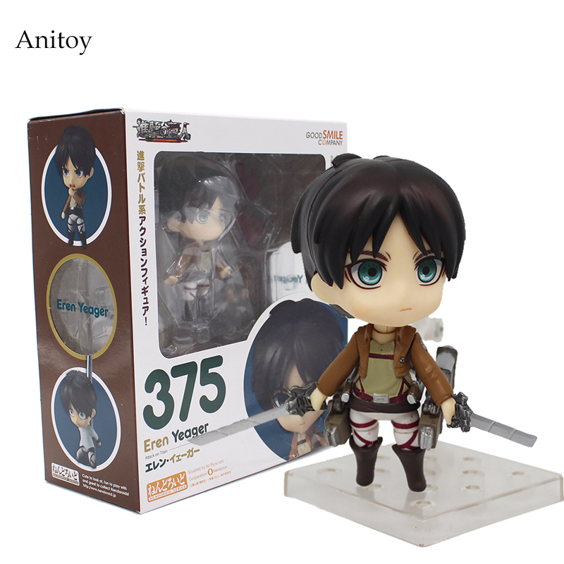Anime Cute Nendoroid Attack on Titan Eren Jaeger #375 PVC Action Figure Collectible Model Toy Doll 10CM KT368 haikyuu kozume kenma 605 pvc action figure collectible model toy 10cm kt3845