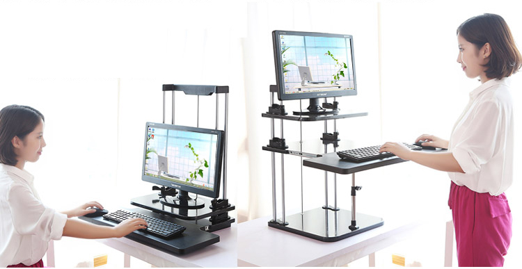 Sit Stand Desk Riser Three Level Height Adjule Lightweight Standing Laptop Notebook Tablet Pc Monitor Holder In Stands From Computer