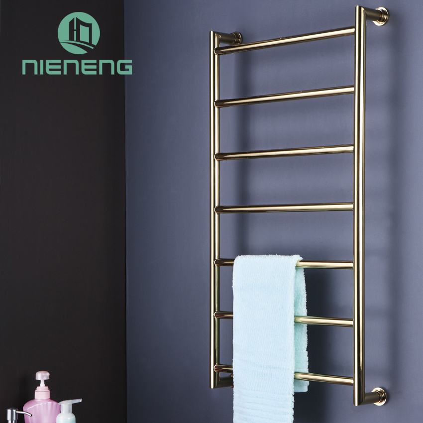 Nieneng Golden Electric Towel Rail Heating Gold Towel Racks 304 Stainless Steel Drying Holder Bathroom Accessories ICD60599 hotel decoration 304 stainless steel electric heating towel racks house furniture fitment appliance heating towel rack icd60048