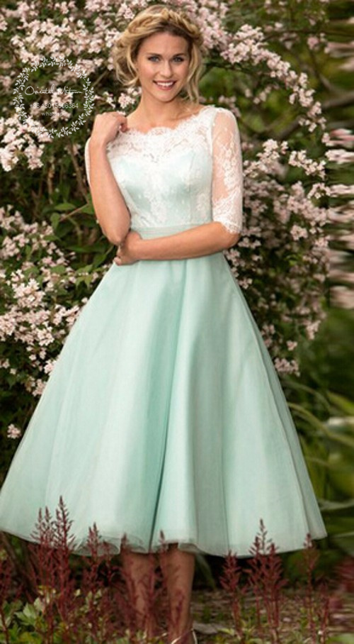 Popular Mint Green Vintage Bridesmaid Dresses-Buy Cheap Mint Green ...