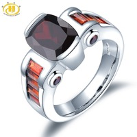 Hutang Garnet Wedding Rings Natural Stone Ring Solid 925 Sterling Silver Bezel Setting Fine Gemstone Jewelry For Women Girls New