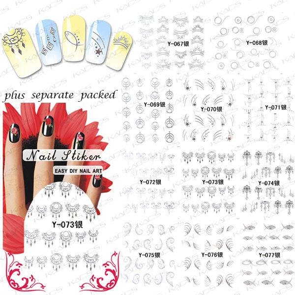 2015 Beautynailart 90 UNIDS/LOTE Y023-110 pasta de plata silver nail calcomanías pegatinas DIY para los accesorios del clavo De Hierro