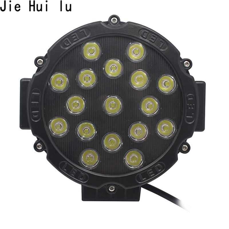 цена на 1Pcs 7 Inch 51W Round LED Work Light Headlight Spot Flood Beam For 4x4 Offroad Truck Tractor ATV SUV Driving Lamp 7