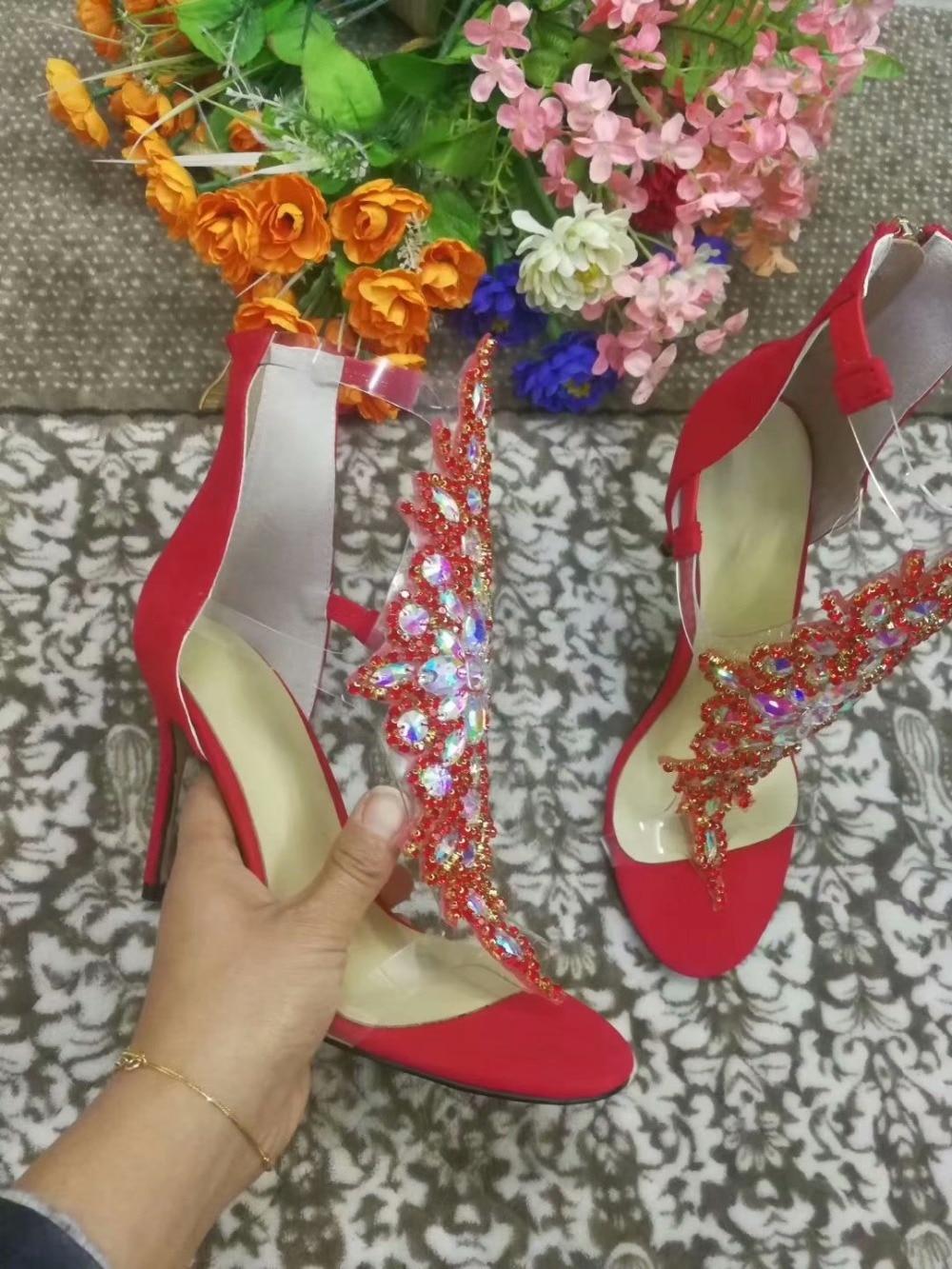 Rouge Photos Réel De Faire Strass Soirée Toe Peep À Femme Mode Personnalisée Taille Hauts Talons Sandales Grande FR5wqUUP