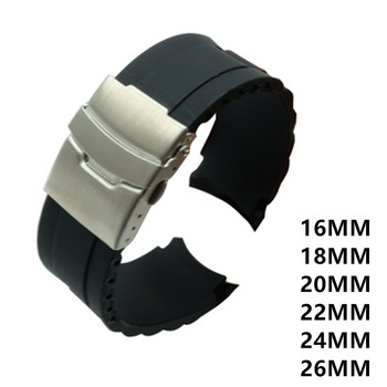 16mm 18mm 20mm 22mm 24mm 26mm Silicone Rubber Diver Silicone Arc Watch Strap With Folding Stainless Steel Clasp Buckle цена 2017