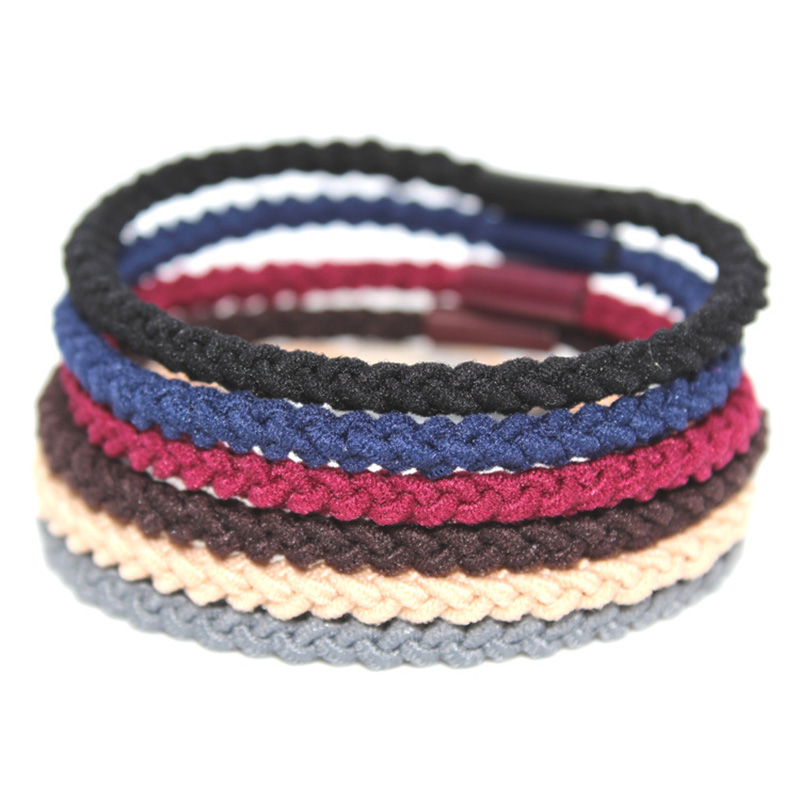 50PCS 4mm Assorted Colors four cords Braided Elastic Ponytail holders Hair bands,nylon hair ties,wholesales