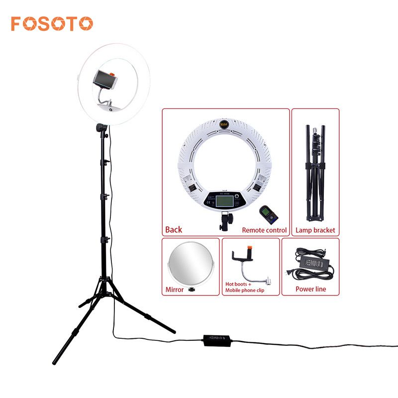fosoto FE 480II 18 Photographic Lighting White 96W Bi Color Dimmable Camera Phone Ring Light Lamp