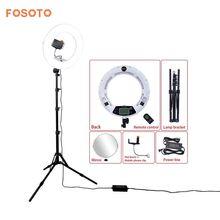 """Fosoto FE-480II 18 """"Fotografik Aydınlatma Beyaz 96 W Bi-Color Dim Kamera Telefonu Halka Işık Lamba & Uzaktan & ayna & Tripod Standı"""