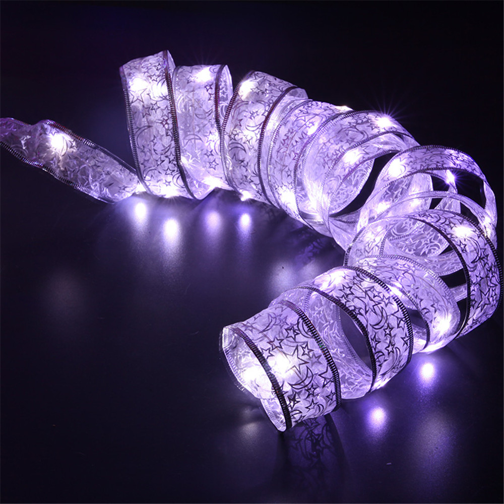 Image 3 - YIYANG 4M 40leds LED Christmas Holiday Light AA Battery Lace Bow Ribbon String Lights Home Garden Party Decoration Lamp Cinta-in LED String from Lights & Lighting on