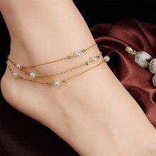 Perlas de Joyería de moda Pulseras Para Las Mujeres Barefoot Sandalia Pie Pie Joyería tornozeleira Tobillo de La Cadena Pulsera pulseras