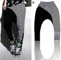 New fashion Harem Hip Hop Dance Sweatpants Costumes female stage performance wear trousers jazz Stripe Spliced Panelled Pants