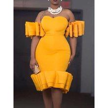 Knee-Length Falbala Short Sleeve Party Dress Elegant Off Shoulder Yellow Summer Plus Size Female Dinner Office Dress цена 2017