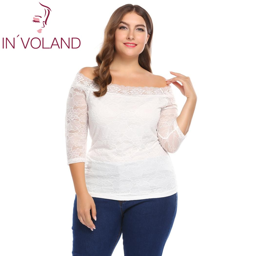 135a17ca6b4 IN VOLAND Women T Shirts Tops Oversized 5XL Sexy Off Shoulder 3 4 Sleeve  Floral Lace Pullover Casual Slim Fit Tshirt Plus Size-in T-Shirts from  Women s ...