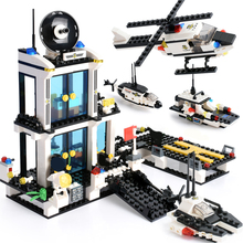 858PCS City Police Station Building Blocks SWAT Truck Vehicle Creator Helicopter Bricks Kids Educational Toys Gifts
