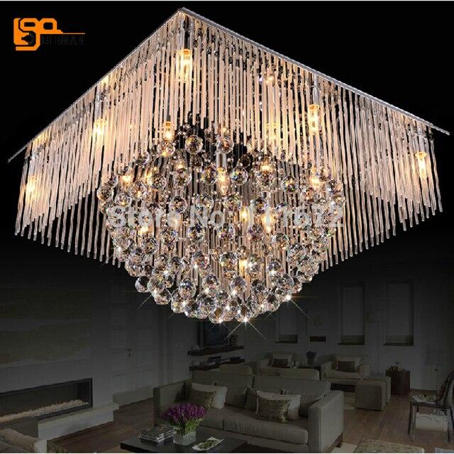Nouveau carré lampe en cristal moderne lustre LED lumi¨re cristal